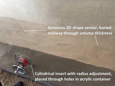 2D shape sensor embedment